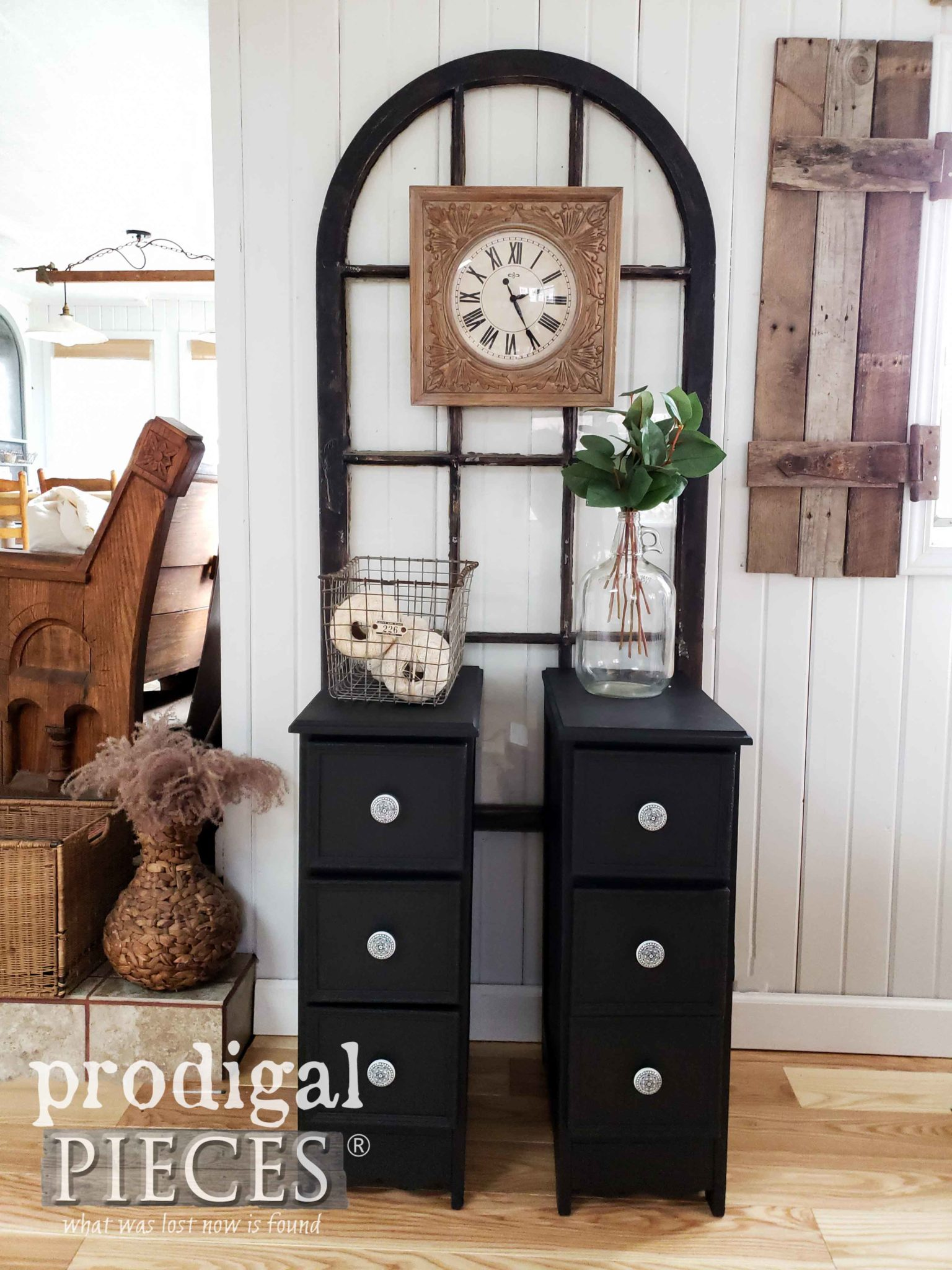 Modern Farmhouse Style Nightstands Made from Upcycled Desk | Video Tutorial by Larissa of Prodigal Pieces | prodigalpieces.com #prodigalpieces #diy #furniture #home #videos #tutorial #homedecor #homedecorideas #farmhouse
