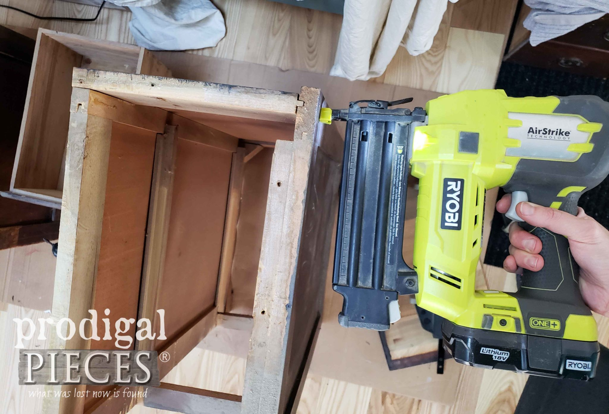 Ryobi Nailer to Assemble Upcycled Nightstands | prodigalpieces.com