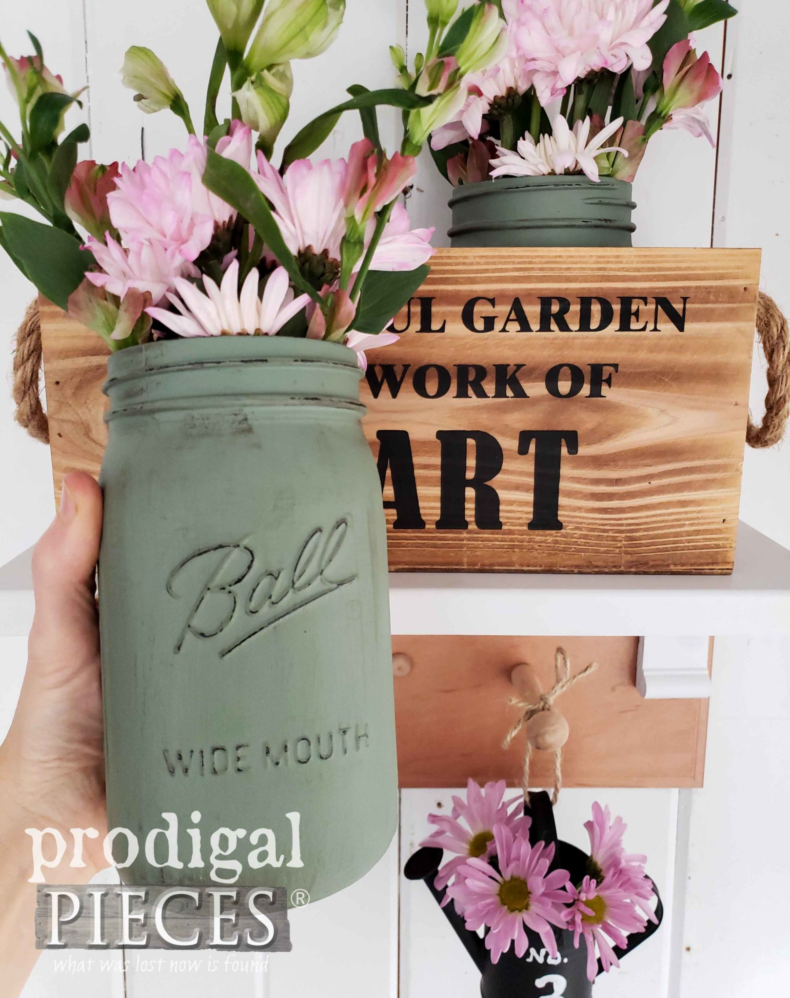 Painted Ball Canning Jars for DIY Spring Decor Fun by Larissa of Prodigal Pieces | prodigalpieces.com #prodigalpieces #farmhouse #home #diy #homedecor #spring #homedecorideas #handmade