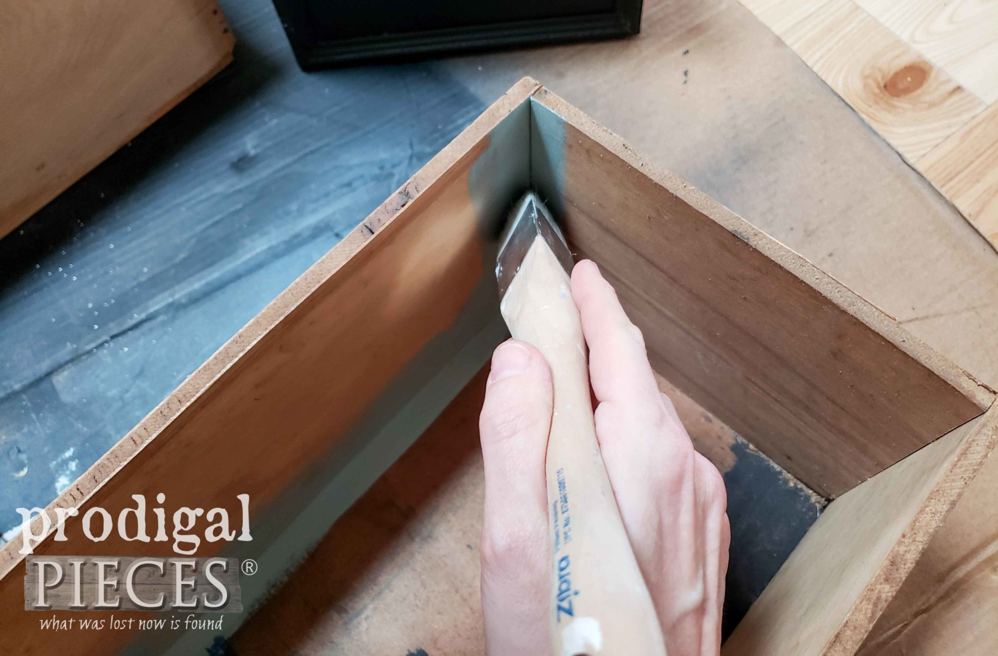 Painting Drawer Interior with Zibra Triangle Brush | Zibra Brushes available at shop.prodigalpieces.com