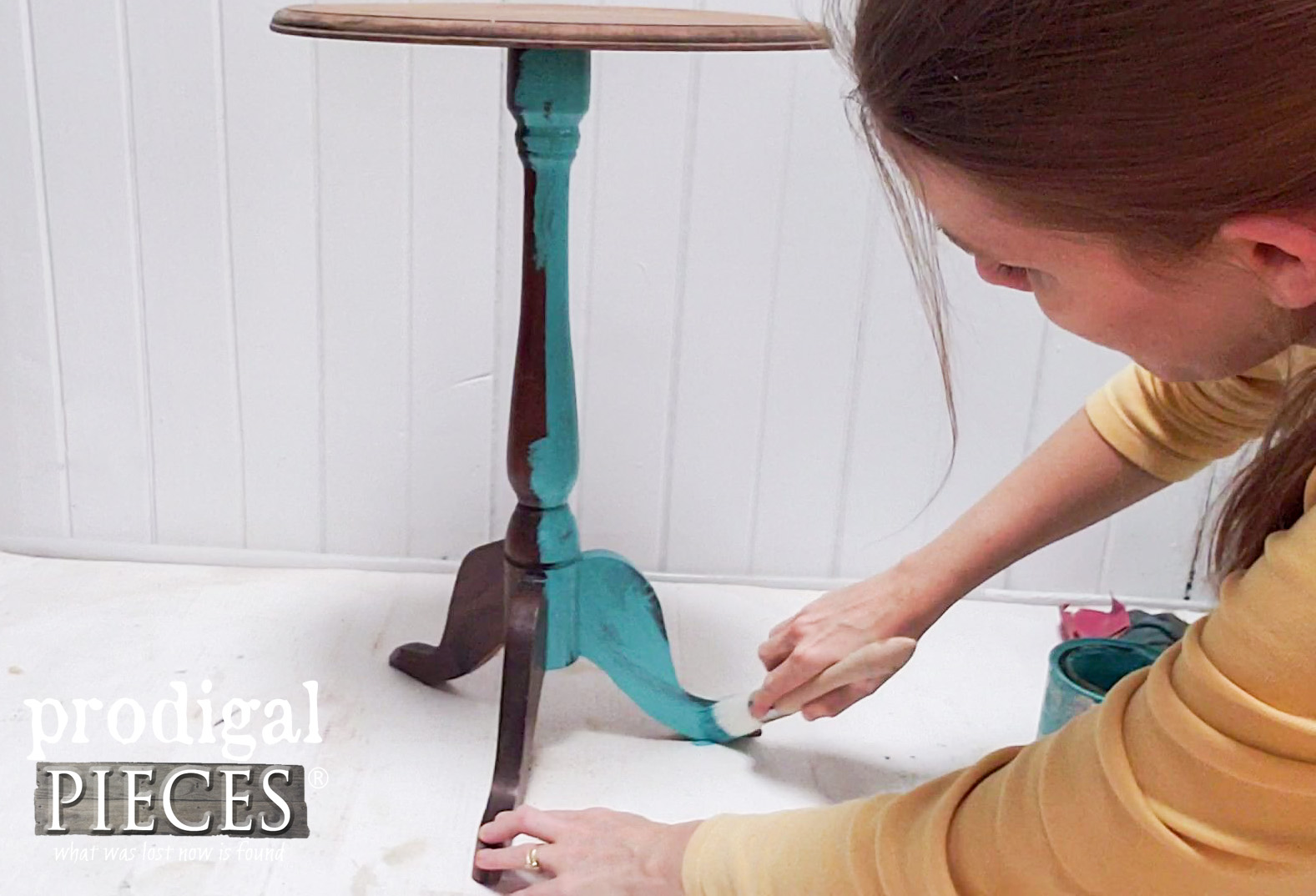 Painting Accent Pedestal Table with Zibra Round Brush | prodigalpieces.com