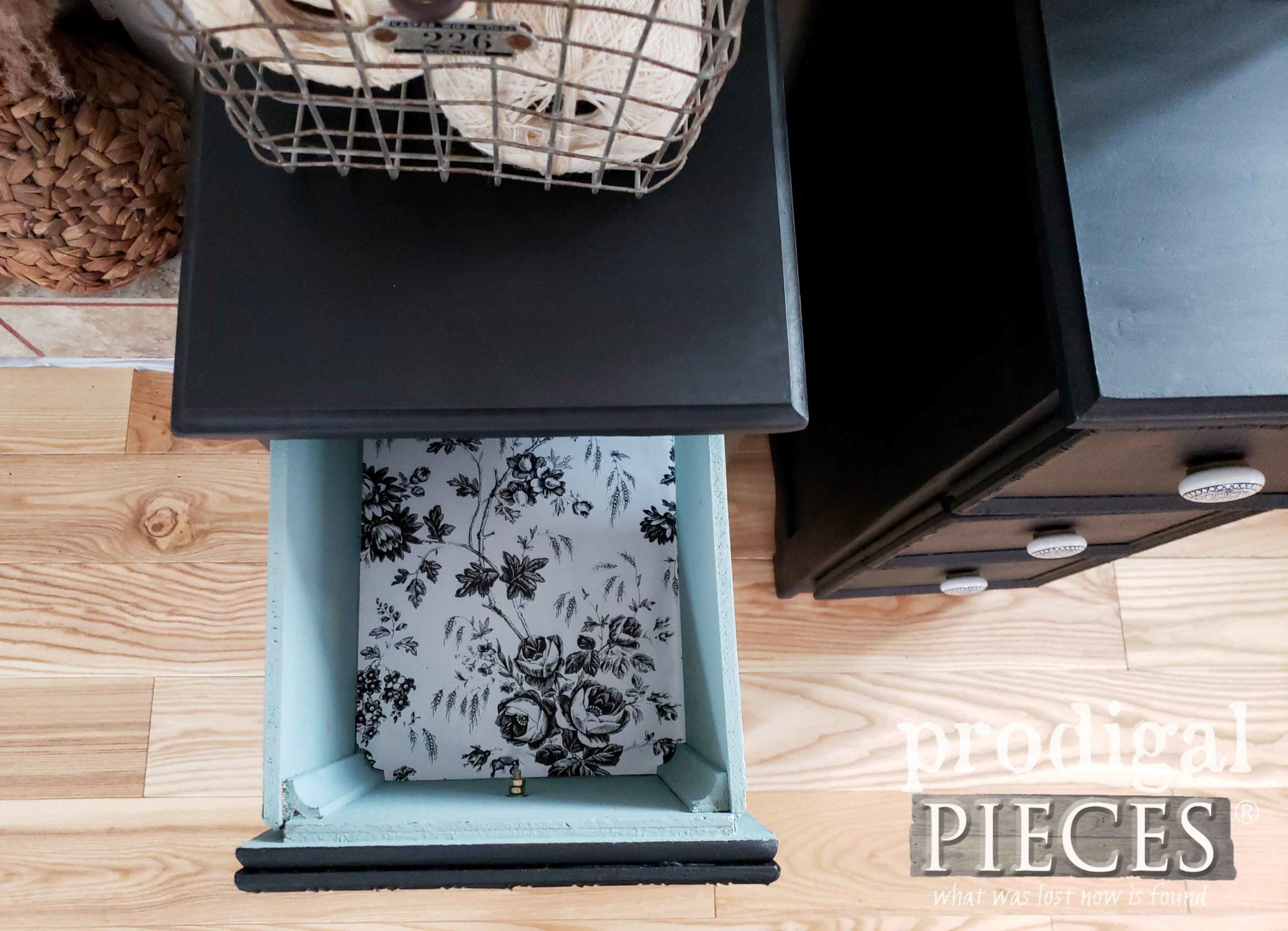 Paper Lined Drawer of Vintage Nightstands Made from Upcycled Desk | Prodigal Pieces | prodigalpieces.com