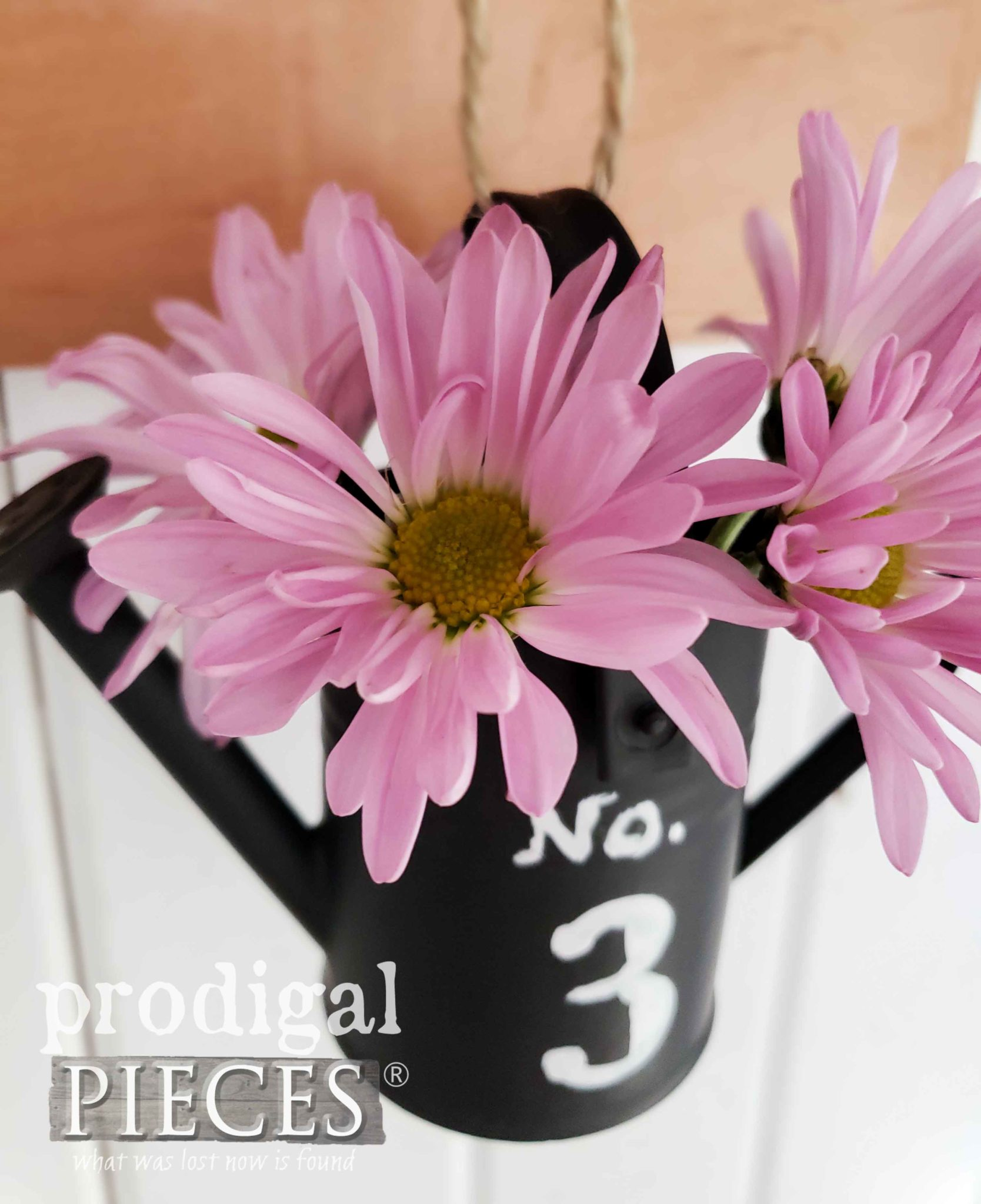 Pink Daisies in Miniature Watering Can by Prodigal Pieces | prodigalpieces.com #prodigalpieces #farmhouse #home #diy #homedecor #homedecorideas