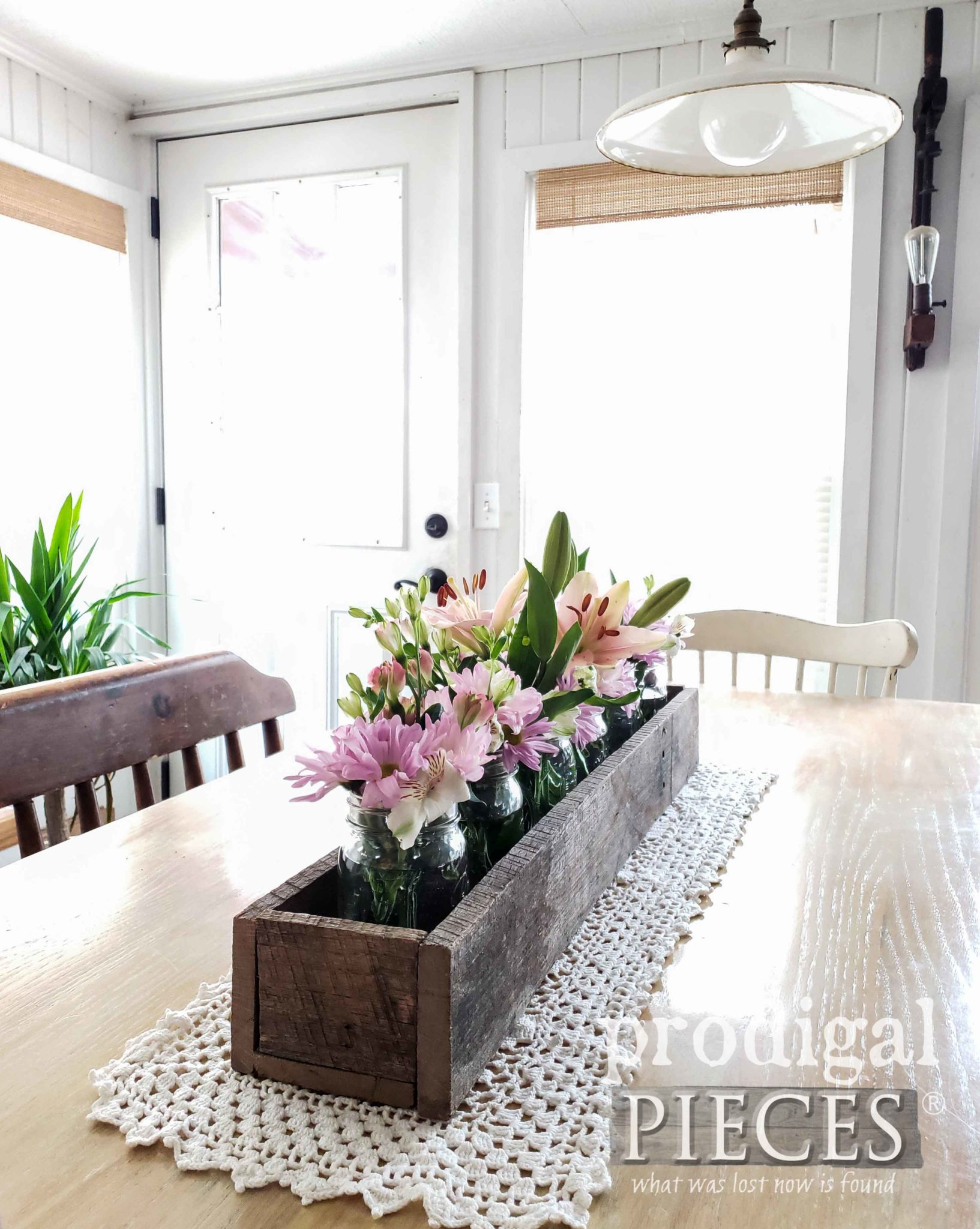 Rustic Farmhouse Centerpiece Trough Filled with Canning Jars and Fresh Blooms by Larissa of Prodigal Pieces | prodigalpieces.com #prodigalpieces #flowers #diy #farmhouse #home #homedecor #handmade #homedecorideas