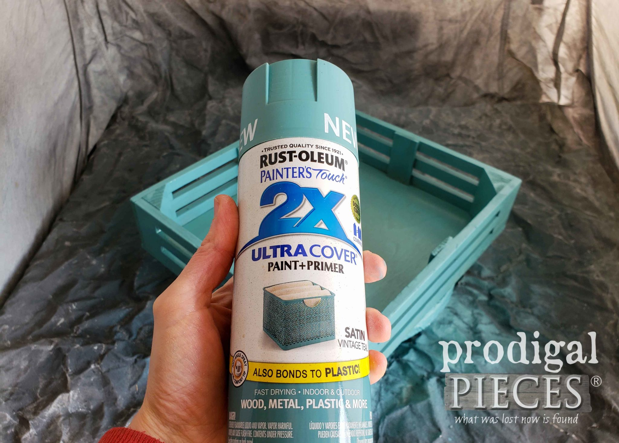Rustoleum Vintage Teal Spray Paint for DIY Spring Centerpiece | prodigalpieces.com