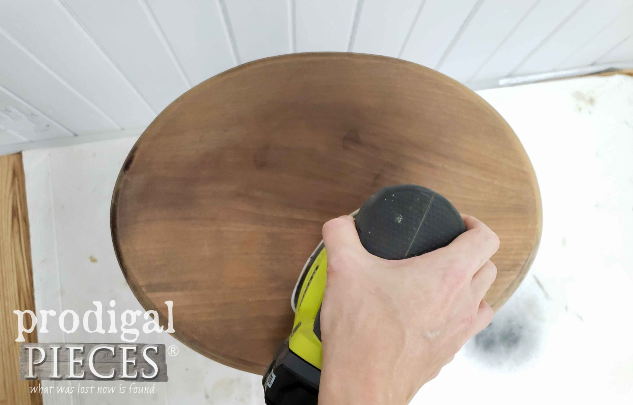 Sanding Table Top with Ryobi Corner Cat Sander | prodigalpieces.com