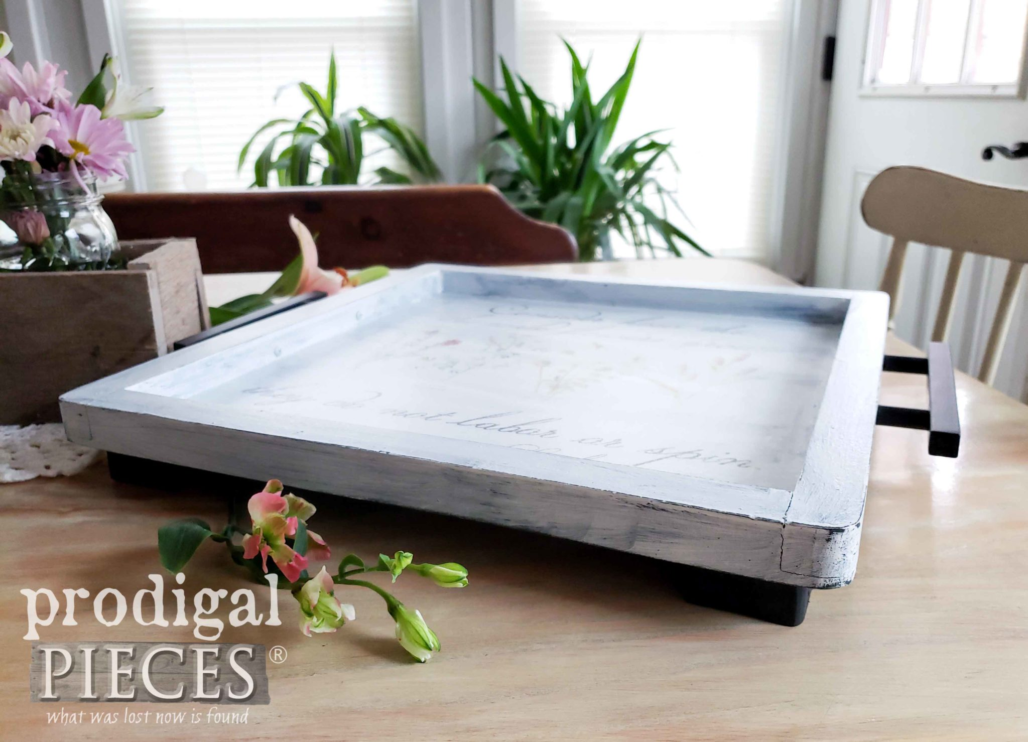 Footed Serving Tray with Botanical Print Design by Larissa of Prodigal Pieces | prodigalpieces.com #prodigalpieces #diy #handmade #farmhouse #home #homedecor #homedecorideas