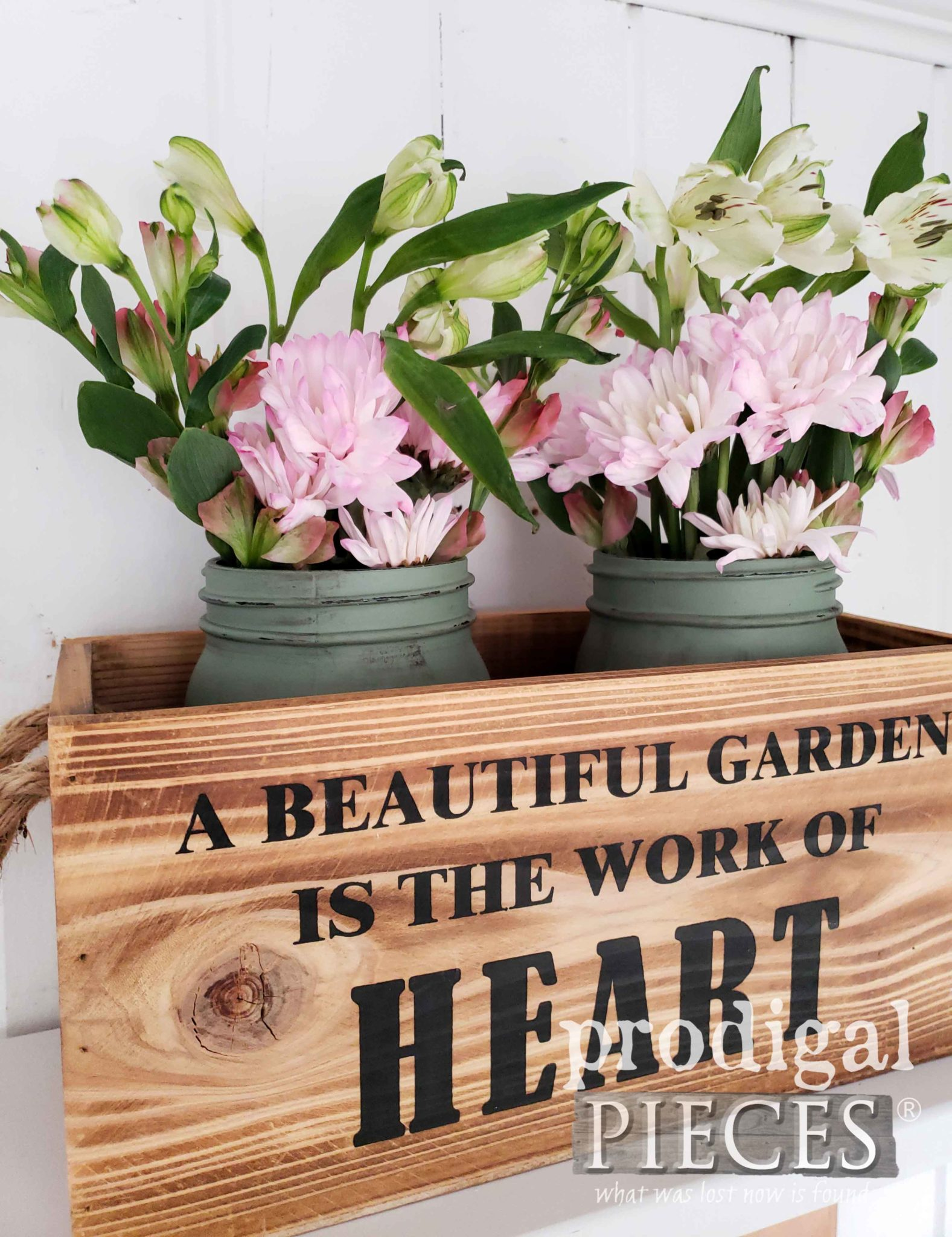 Create a spring vignette with a little DIY fun by Larissa of Prodigal Pieces | prodigalpieces.com #prodigalpieces #spring #handmade #home #farmhouse #diy #homedecor