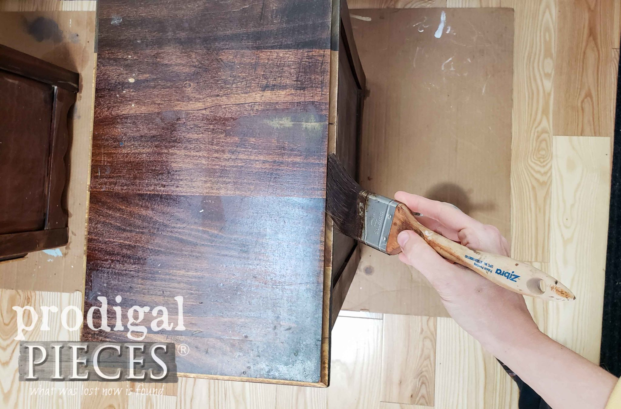 Staining Nightstand Top with Zibra Paint Brush | Brushes available at prodigalpieces.com