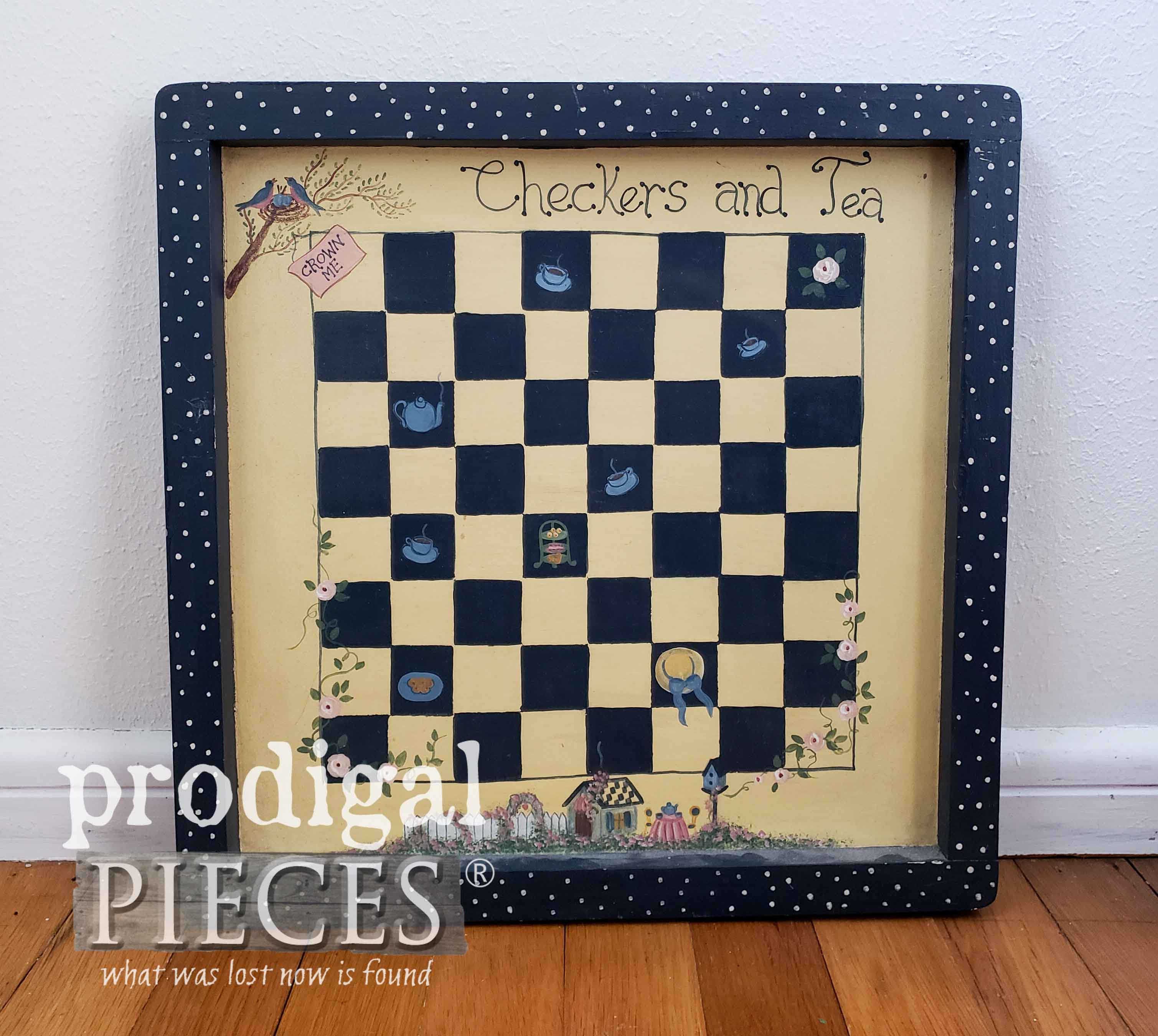 Thrifted Checkerboard Wall Art Before Makeover by Prodigal Pieces | prodigalpieces.com