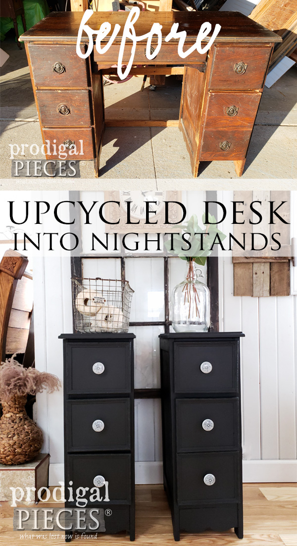 Fantastic save!! This old antique had seen better days, but now it has new life as an upcycled desk turned into a pair of nightstands. Full video tutorial by Larissa of Prodigal Pieces at prodigalpieces.com #prodigalpieces #diy #home #furniture #handmade #homedecor #farmhouse #vintage #homedecorideas #shopping