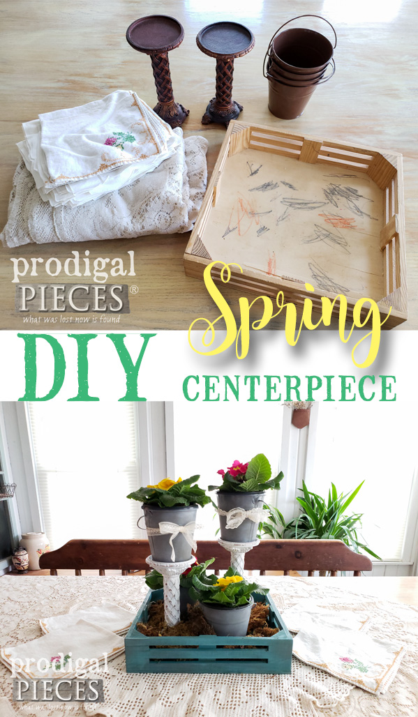 Create this DIY Spring Centerpiece using Thrifted Finds and this DIY video tutorial by Larissa of Prodigal Pieces | Head to prodigalpieces.com #prodigalpieces #diy #videos #farmhouse #home #homedecor #shopping #homedecorideas