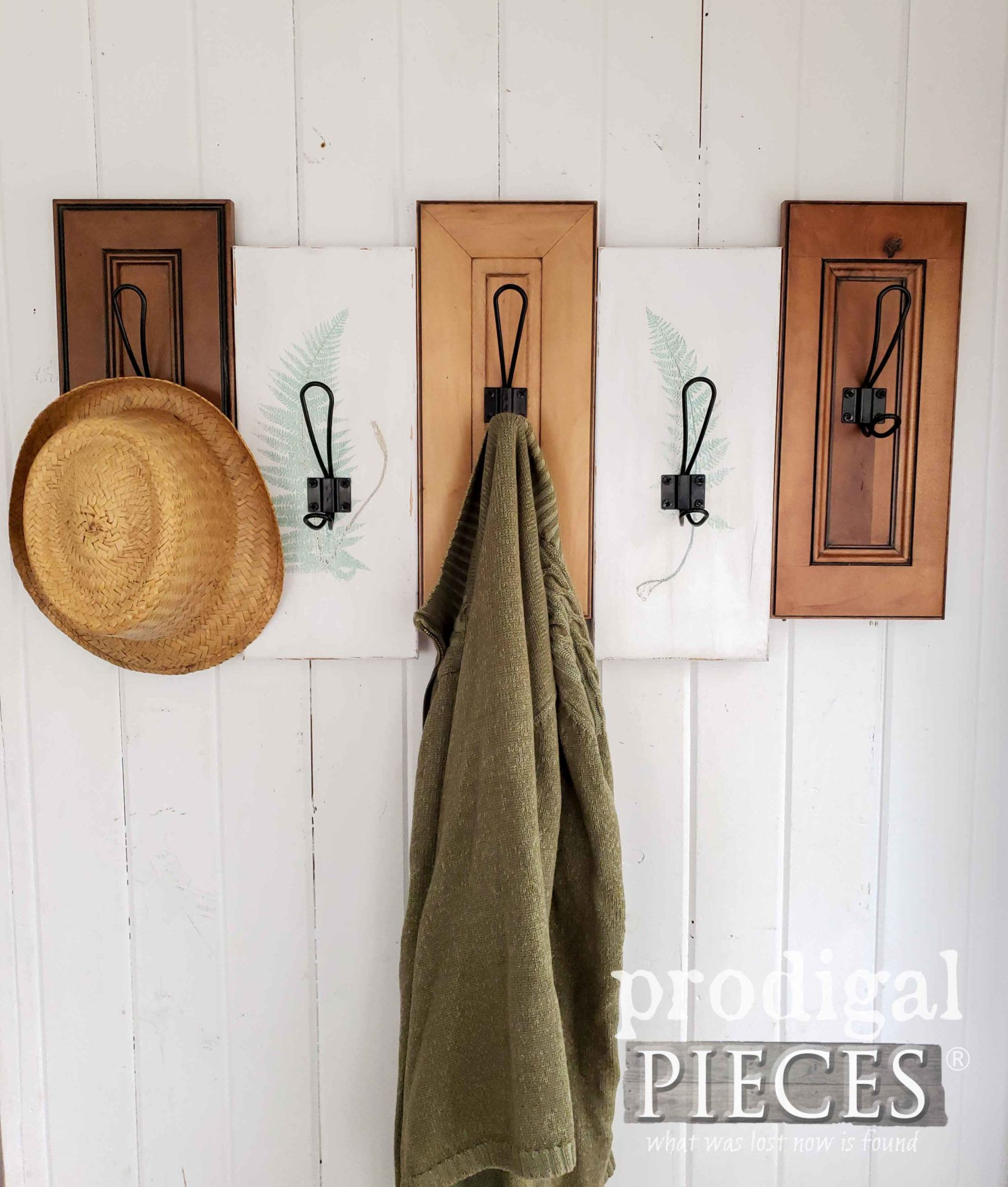 DIY Upcycled Drawer Fronts made into a Coat Towel Rack with Botanical Design by Larissa of Prodigal Pieces | prodigalpieces.com #prodigalpieces #diy #home #handmade #homedecor #homedecorideas #shopping