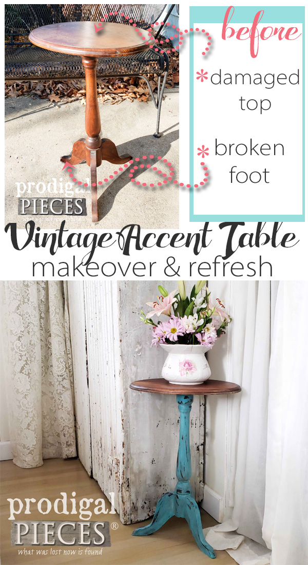 Take your damaged and dated furniture to a new level. Larissa of Prodigal Pieces took this vintage accent table and restored it while adding some color fun | Video tutorial at prodigalpieces.com #prodigalpieces #furniture #diy #home #farmhouse #vintage
