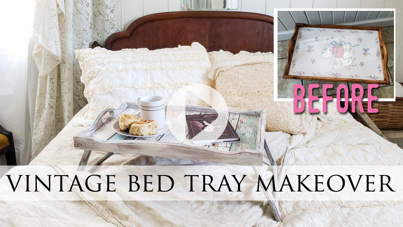 DIY Video Tutorial for Vintage Bed Tray Makeover by Larissa of Prodigal Pieces   prodigalpieces.com