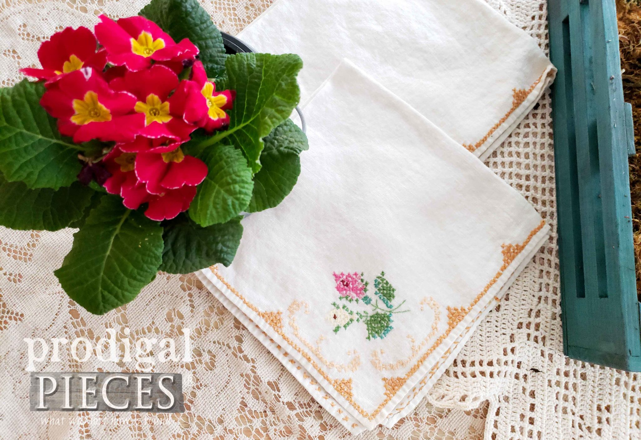 Vintage Embroidered Napkin | Prodigal Pieces | prodigalpieces.com #prodigalpieces #vintage #handmade #home