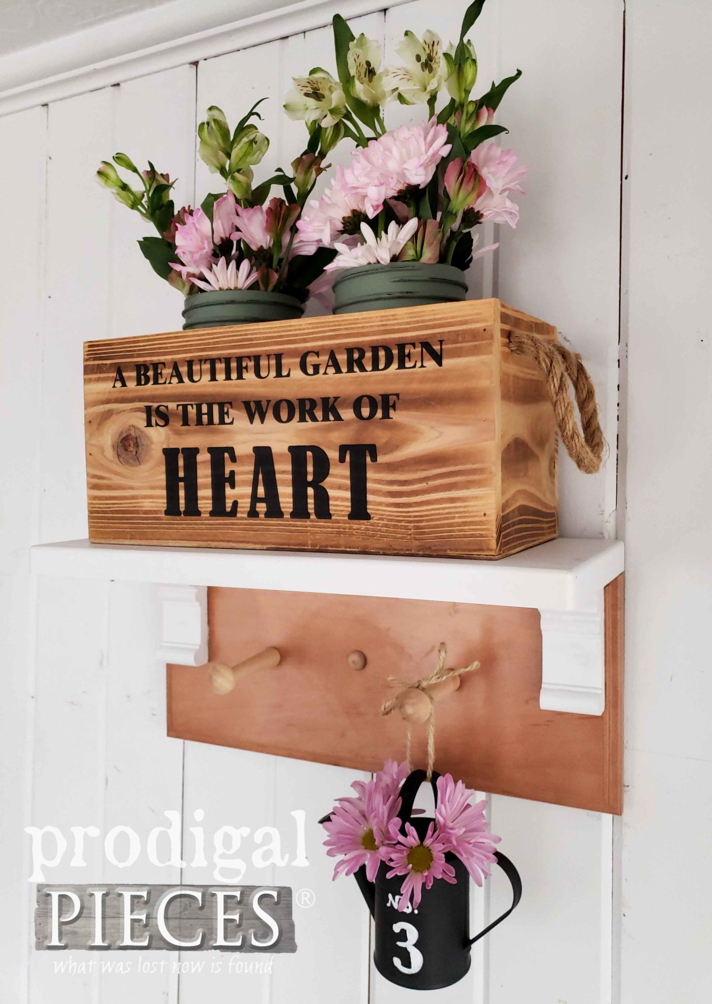 Vintage Style Farmhouse Garden Shelf Towel Rack by Larissa of Prodigal Pieces | prodigalpieces.com #prodigalpieces #diy #handamde #home #shopping #homedecor #farmhouse #homedecorideas