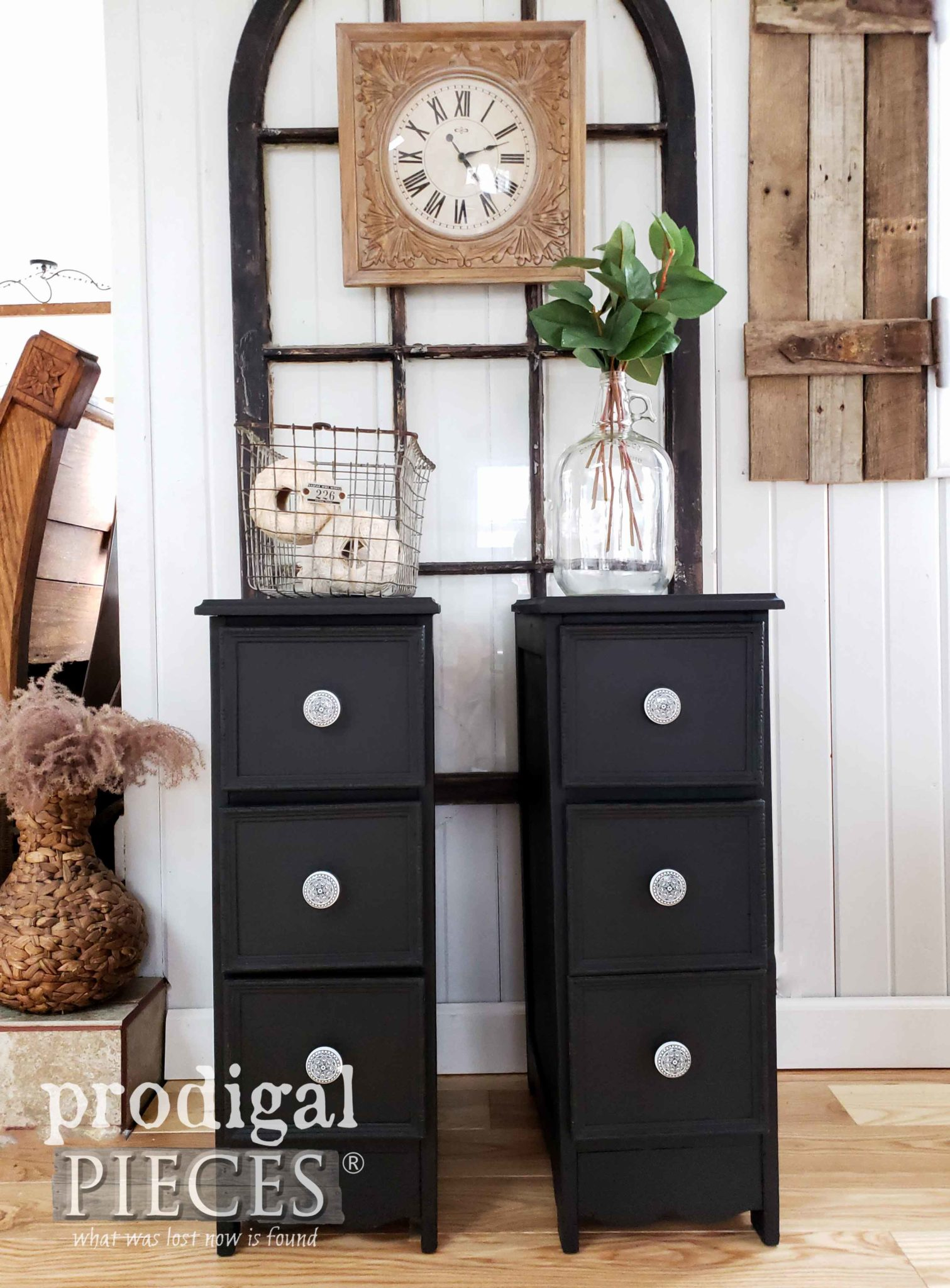 Vintage Farmhouse Style Nightstands in Black Created from an Upcycled Desk by Larissa of Prodigal Pieces | Video tutorial at prodigalpieces.com #prodigalpieces #diy #farmhouse #furniture #home #homedecor #homedecorideas #vintage