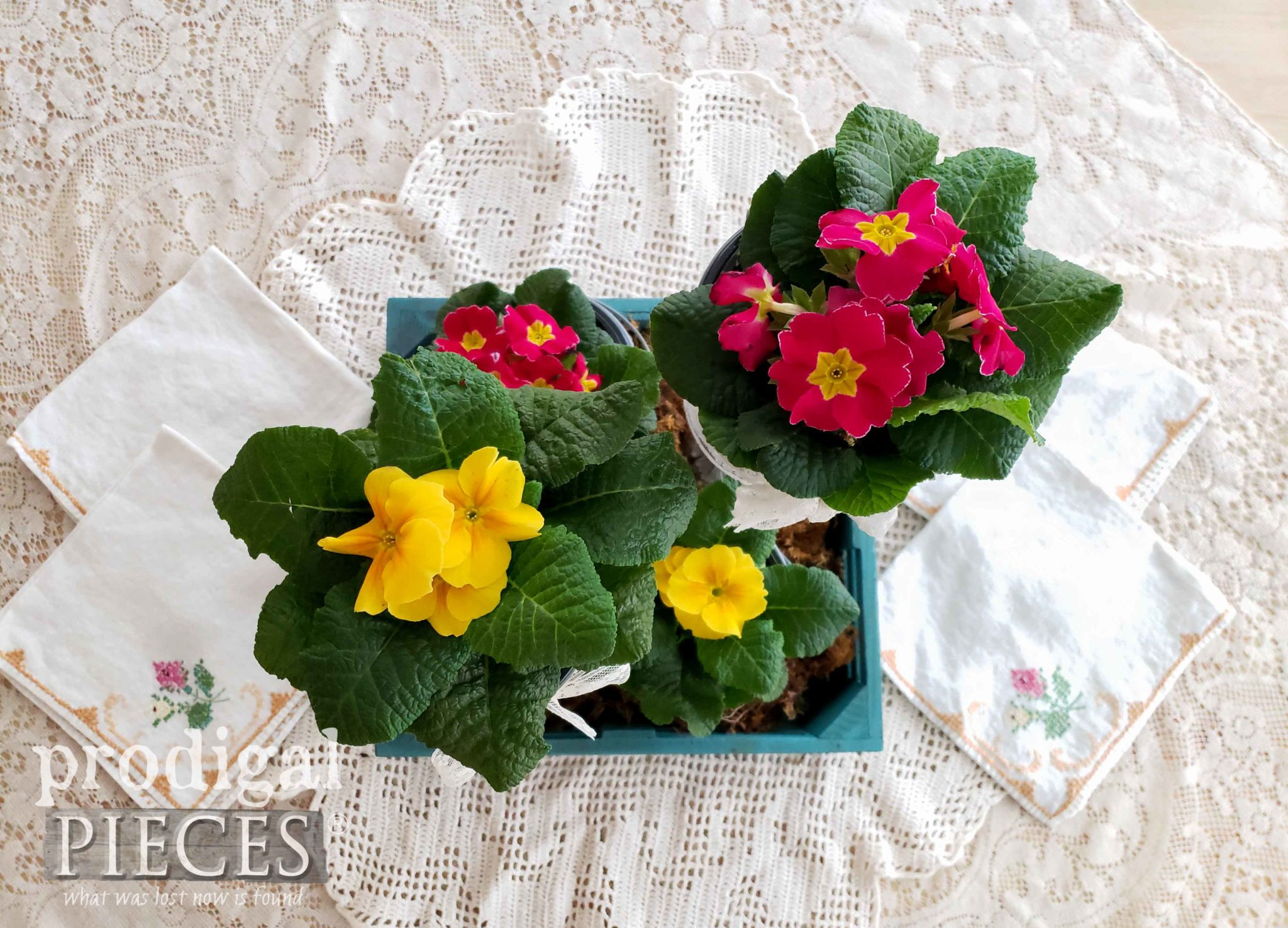 Vintage Spring Centerpiece with Primrose by Larissa of Prodigal Pieces | prodigalpieces.com #prodigalpieces