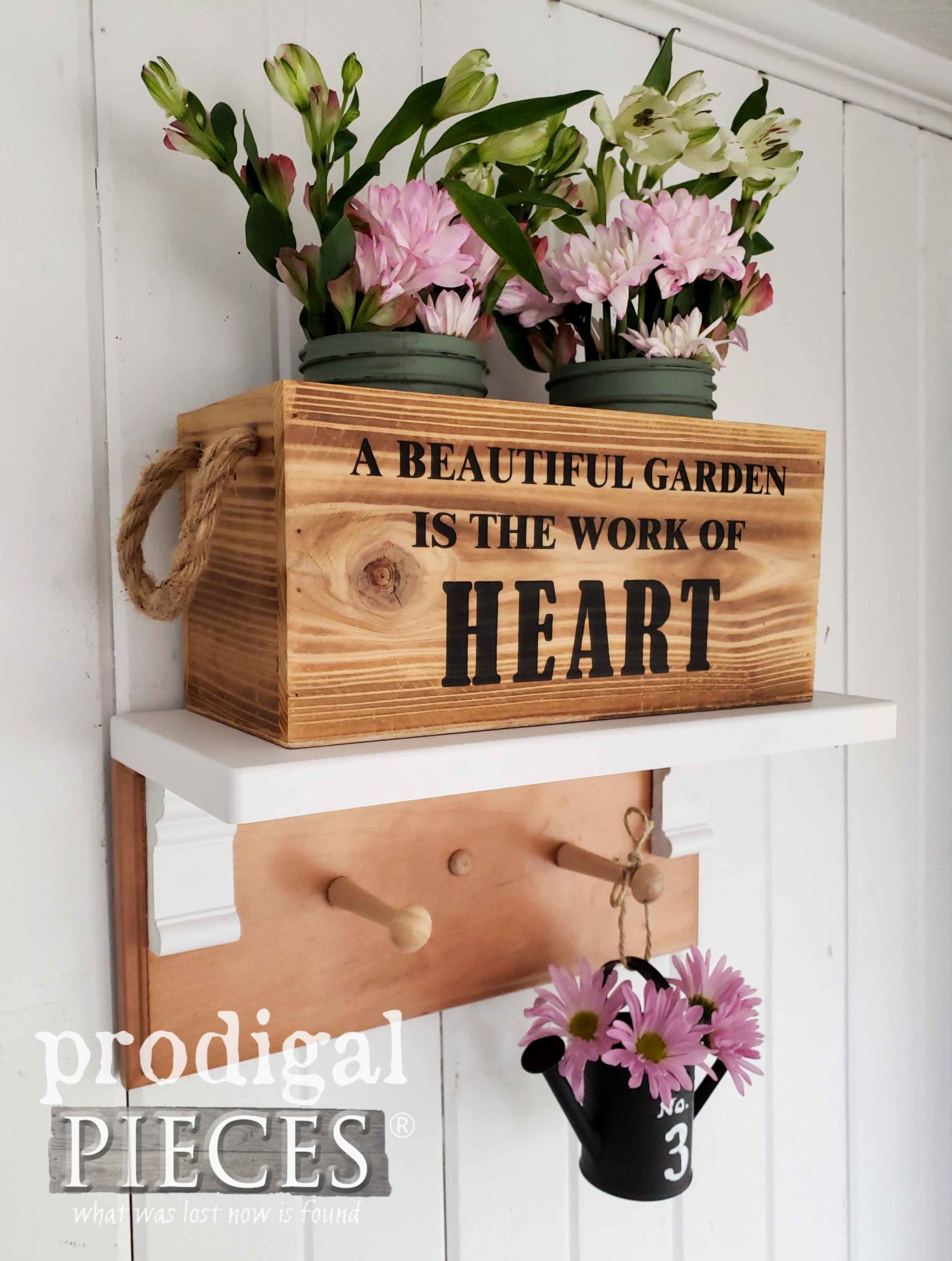 Vintage Style Coat Rack Shelf with Garden Fun by Larissa of Prodigal Pieces | prodigalpieces.com #prodigalpieces #farmhouse #garden #home #diy #homedecor #homedecorideas