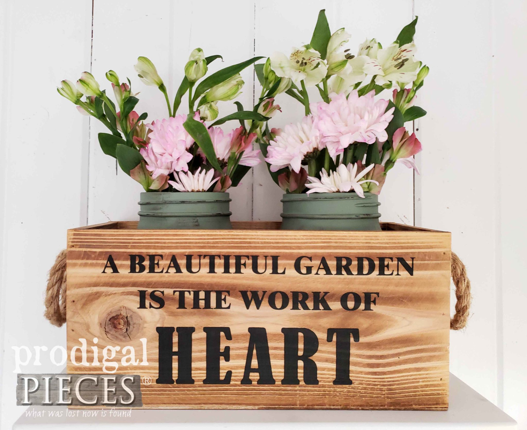 Vintage Style Crate Filled with Painted Ball Canning Jars and Fresh Blooms by Larissa of Prodigal Pieces | prodigalpieces.com #prodigalpieces #diy #farmhouse #home #garden #homedecor #homedecorideas