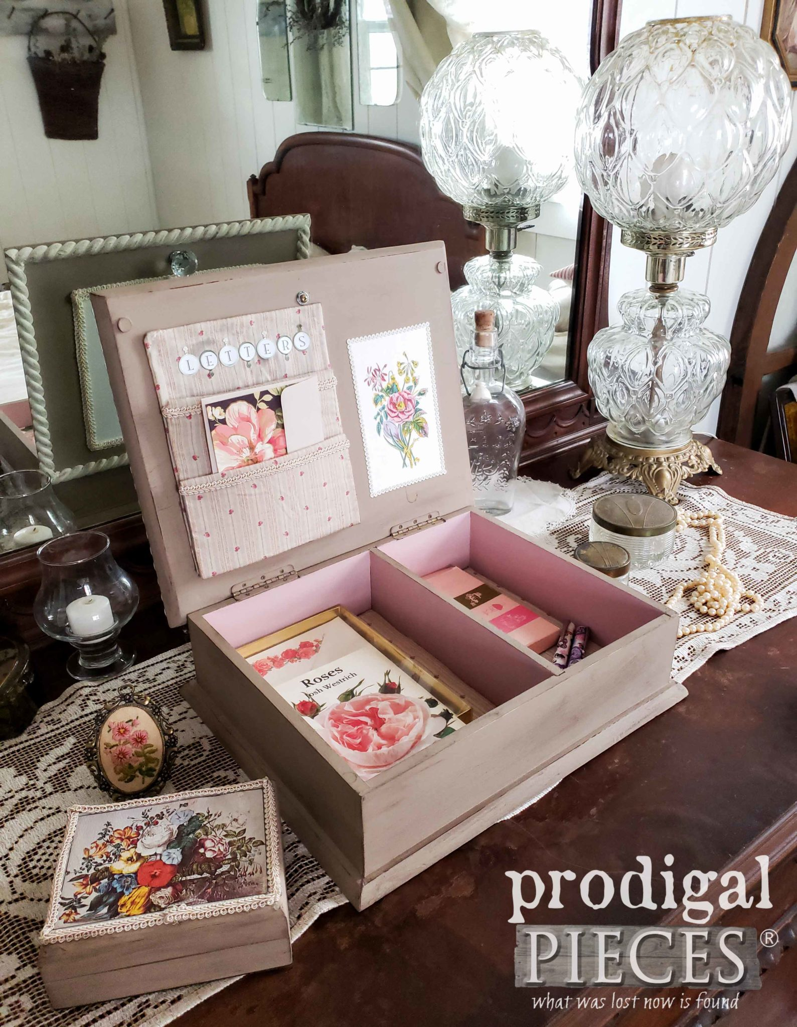 Vintage Style Dresser Box for Stationery, Jewelry, Keepsakes by Larissa of Prodigal Pieces | prodigalpieces.com #prodigalpieces #diy #vintage #home #handmade #homedecor