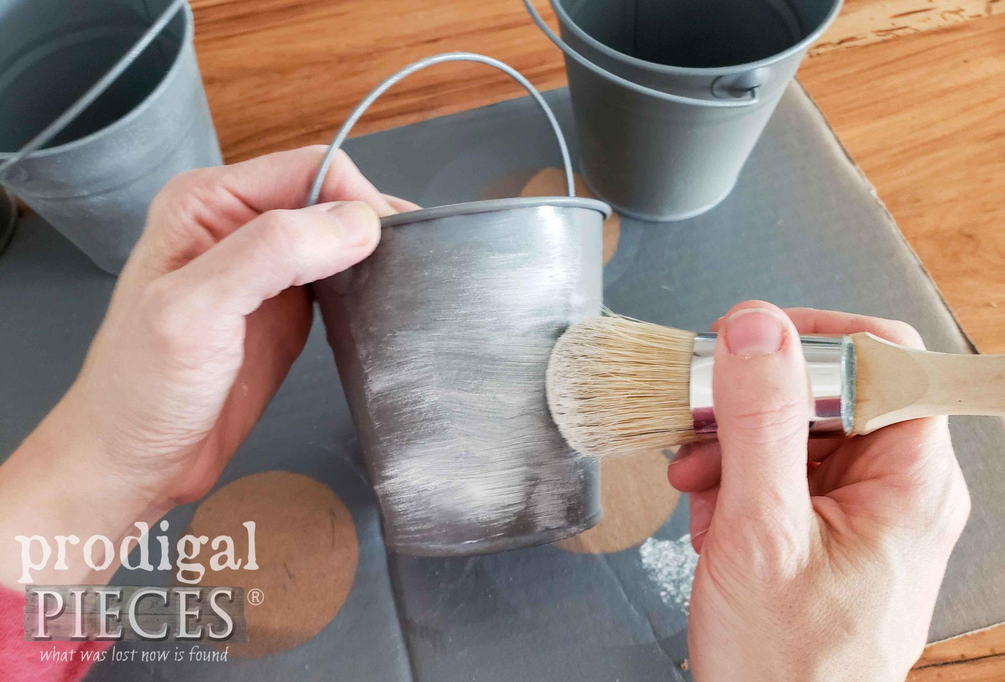 Using White Wax to age Pail | prodigalpieces.com