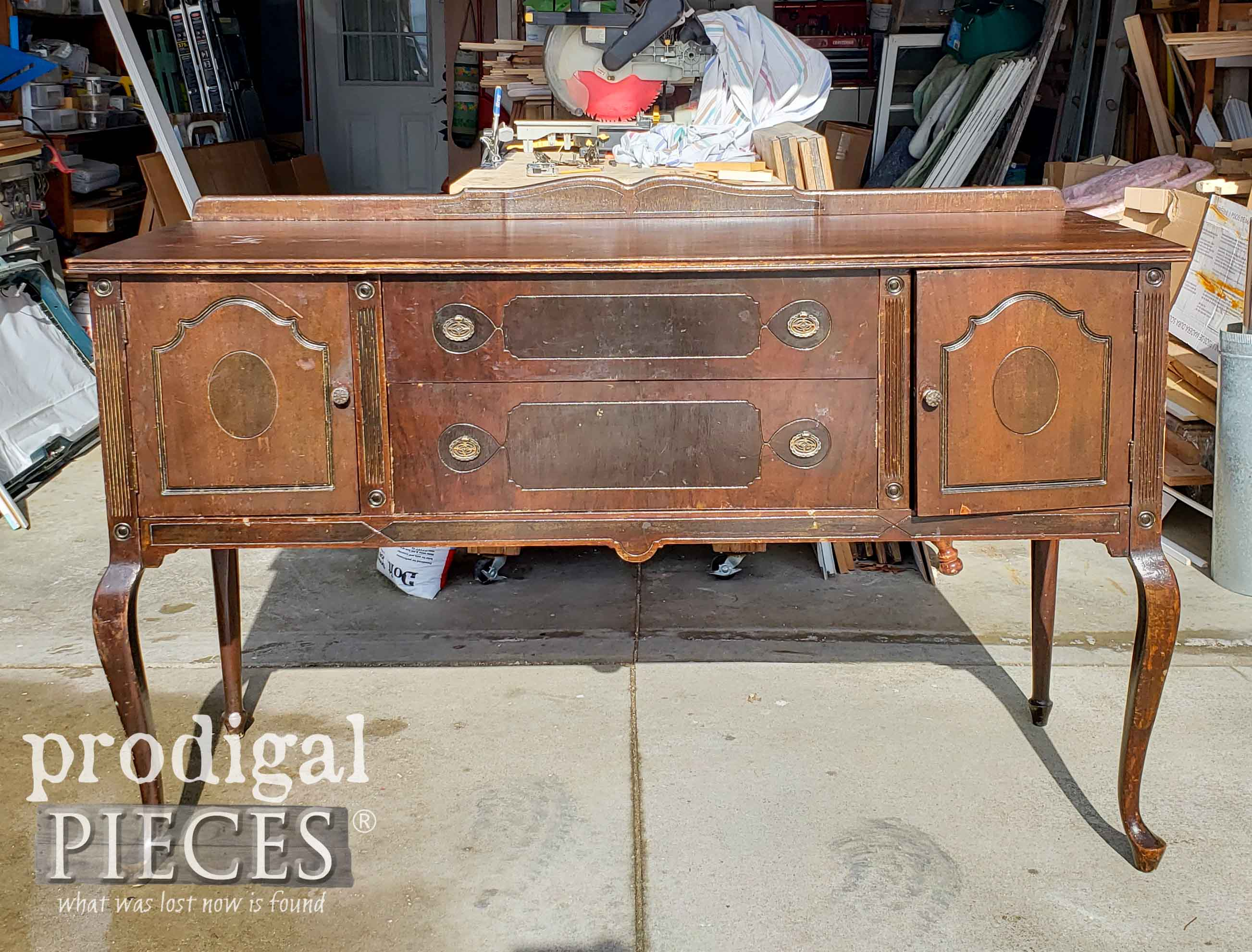 Antique Queen Anne Buffet Before Metallic Makeover by Larissa of Prodigal Pieces | prodigalpieces.com