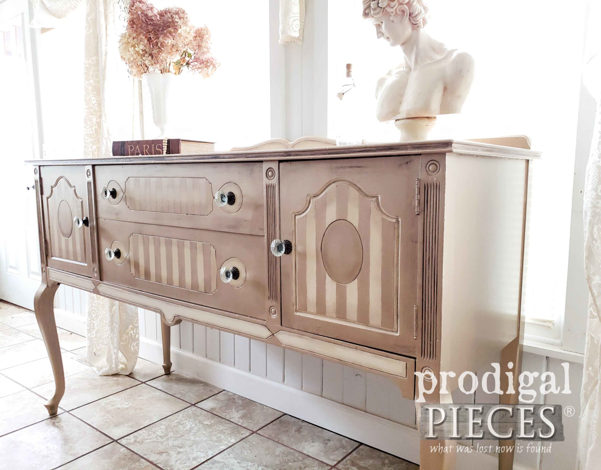 Metallic Antique Buffet Corner | by Larissa of Prodigal Pieces | prodigalpieces.com #prodigalpieces #furniture #home #homedecor #diy