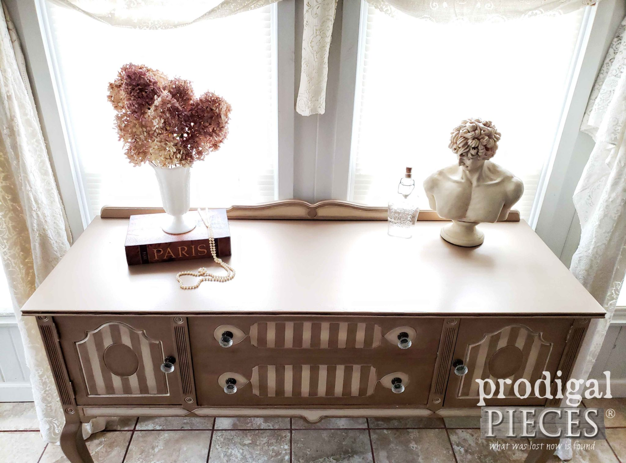 Antique Metallic Buffet Top by Larissa of Prodigal Pieces | prodigalpieces.com #prodigalpieces #vintage #furniture