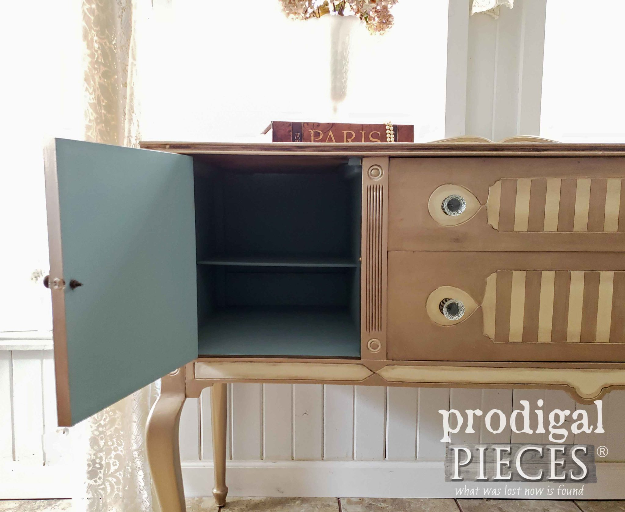 Blue Interior of Antique Buffet by Larissa of Prodigal Pieces | prodigalpieces.com #prodigalpieces #furniture #diy #home #homedecor #antique