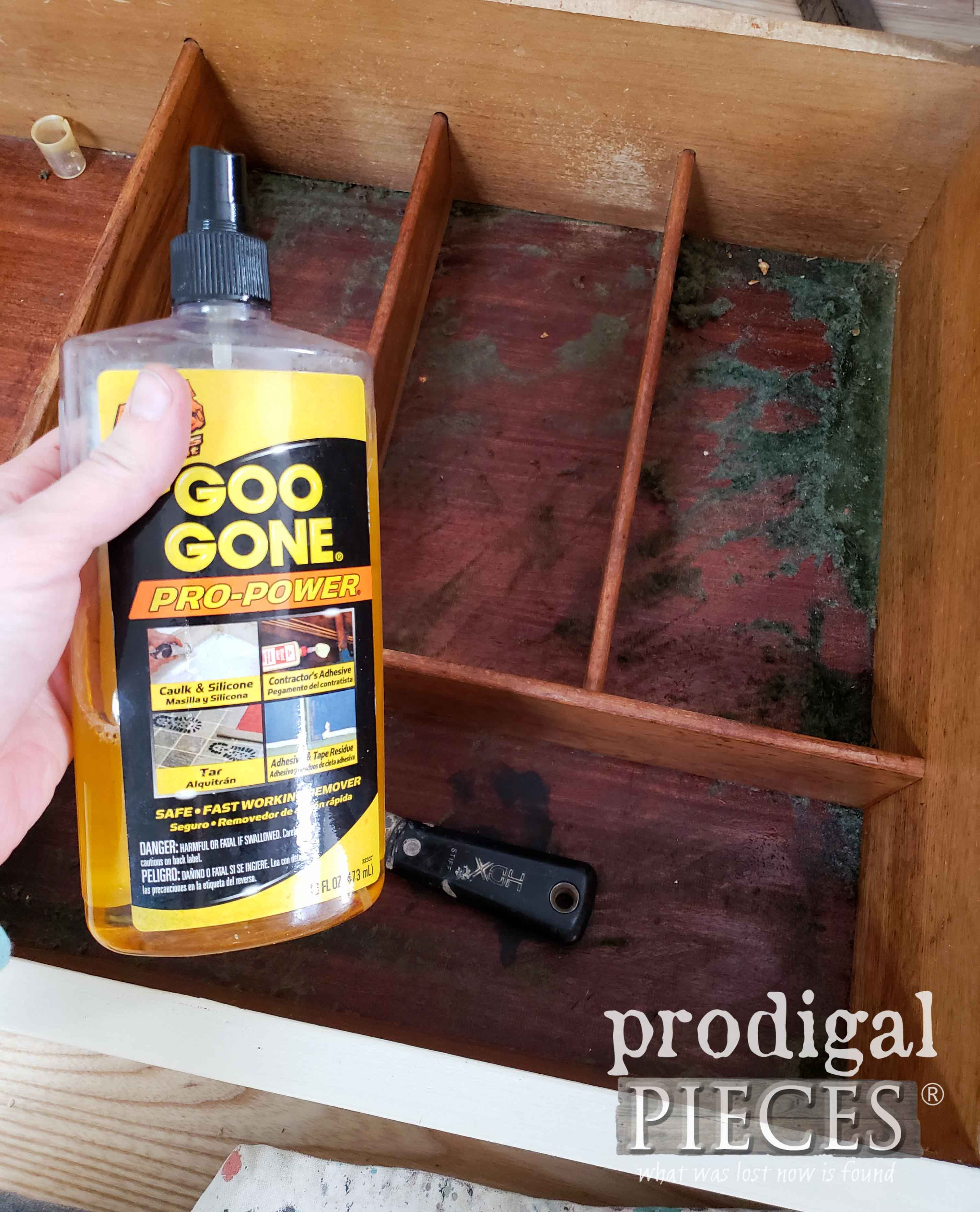 Cleaning Buffet Drawer with Goo Gone | prodigalpieces.com