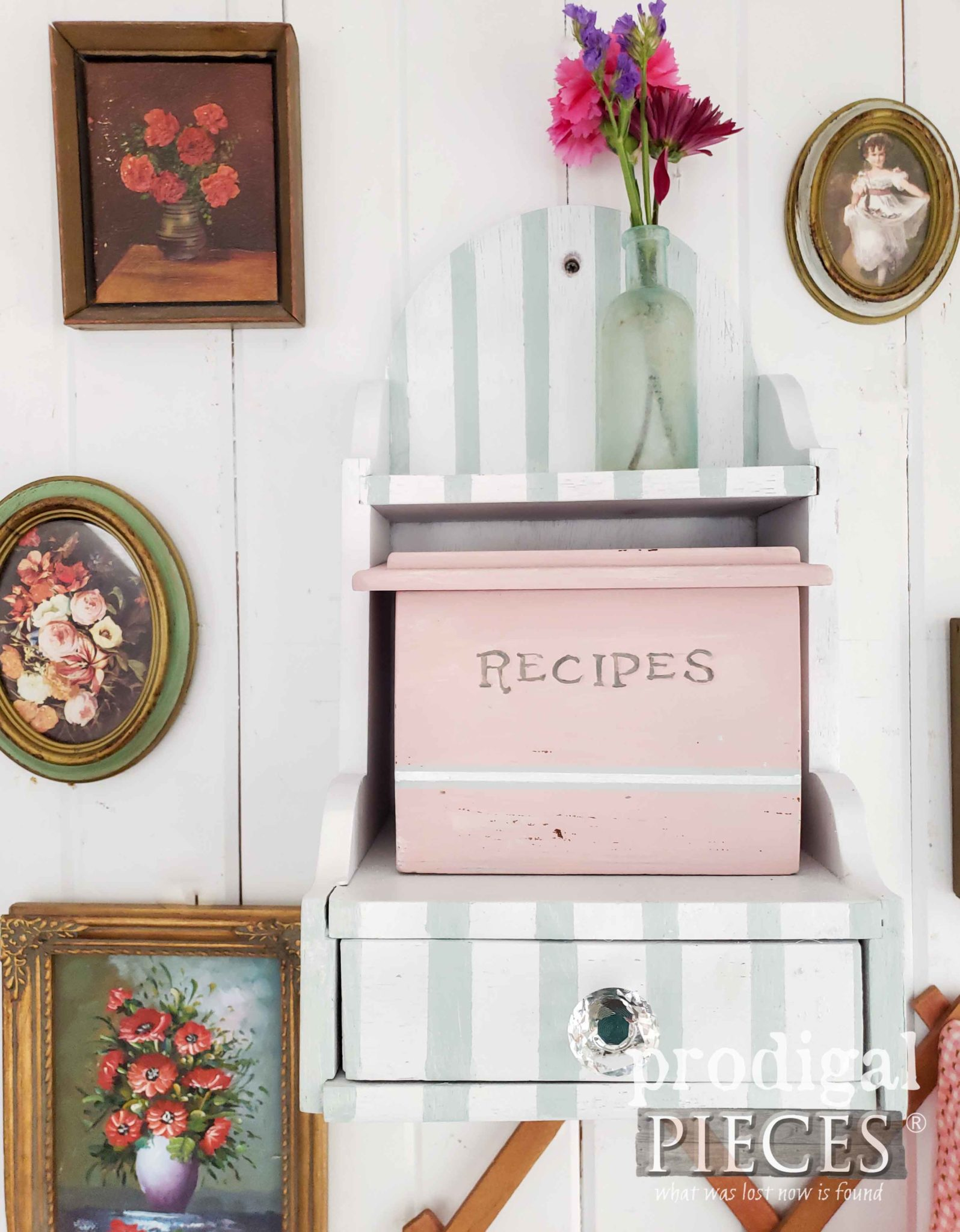 Cottage Chic Recipe Box with Glass Knob and Stripes by Prodigal Pieces | prodigalpieces.com #prodigalpieces #diy #vintage #home #homedecor #handmade
