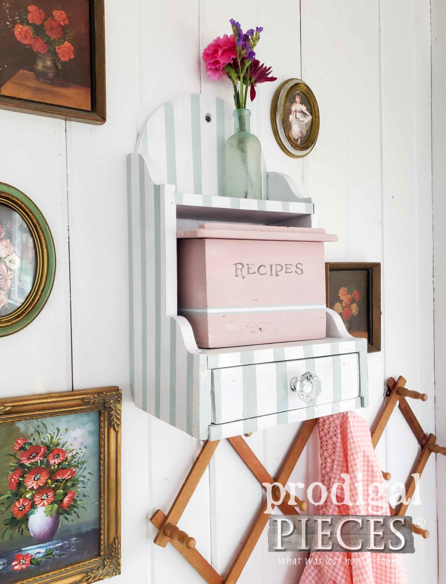 Adorable Cottage Style Recipe Box with Aqua Stripes and Pink by Larissa of Prodigal Pieces | prodigalpieces.com