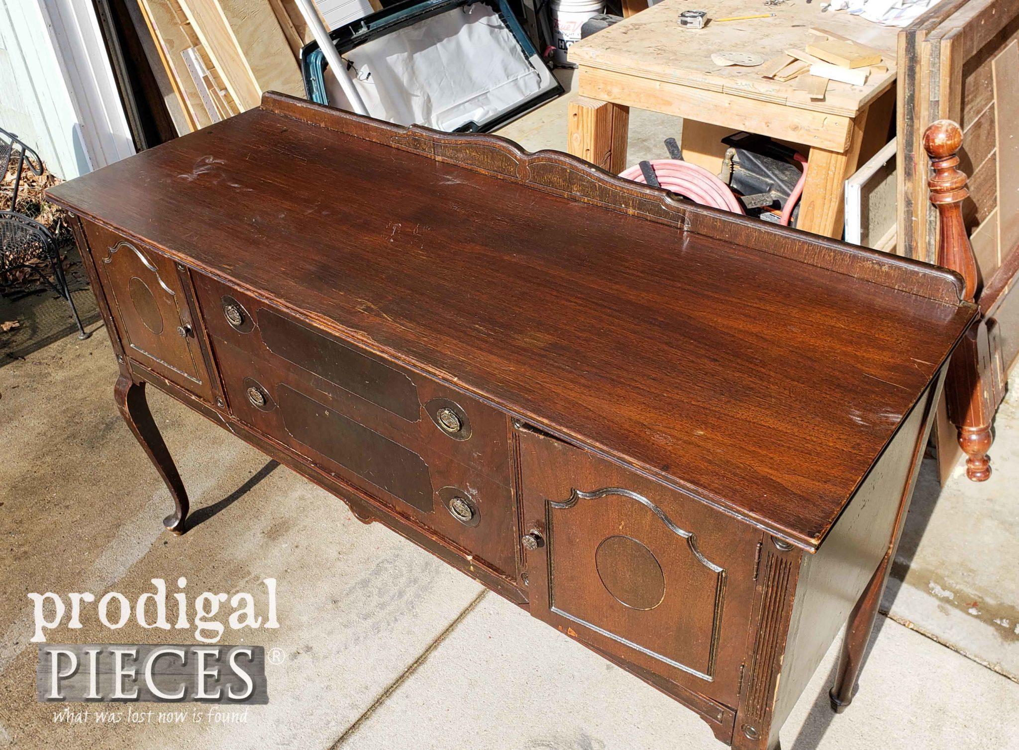 Damaged Antique Buffet Top | prodigalpieces.com