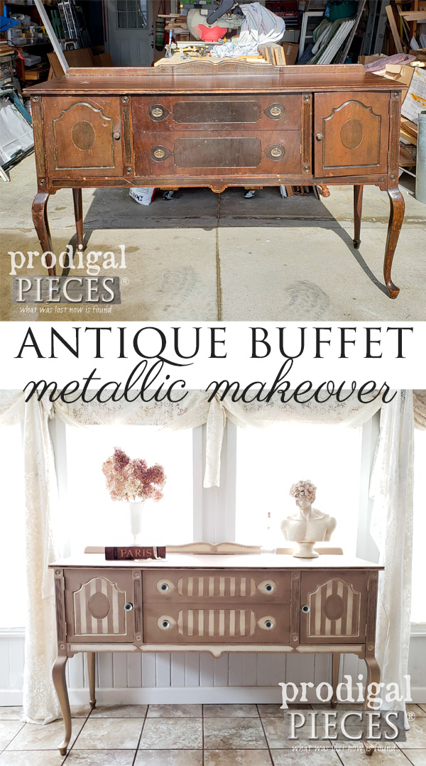 This once-tired antique buffet gets a much needed TLC treatment with Modern Masters Metallic Paints | See the DIY tutorial by Larissa of Prodigal Pieces at prodigalpieces.com #prodigalpieces #diy #furniture #home #homedecor