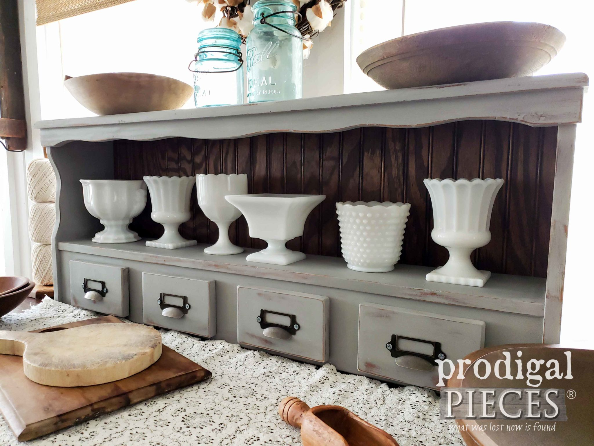 DIY Farmhouse Hutch made from Upcycled Bookcase Headboard | DIY tutorial by Larissa of Prodigal Pieces | prodigalpieces.com #prodigalpieces #farmhouse #homedecor #vintage #home #diy #furniture