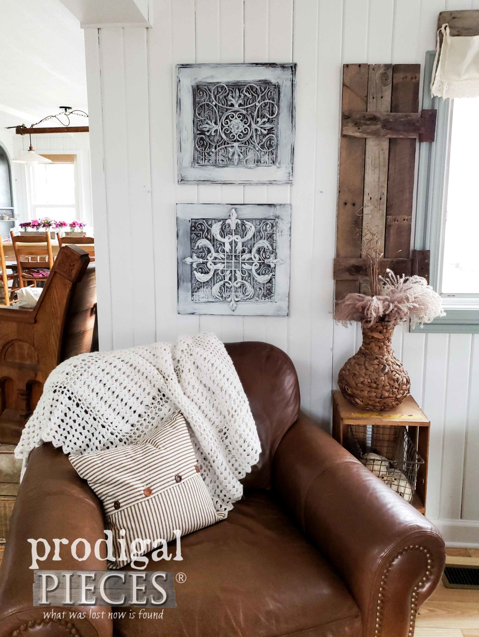 DIY Farmhouse Wall Decor made from Upcycled Cupboard Doors and Thrifted Metal Art | Video tutorial by Larissa of Prodigal Pieces | prodigalpieces.com #prodigalpieces #diy #farmhouse #home #handmade #homedecor