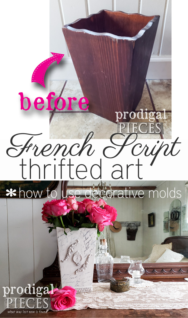 From boring brown to ooh, la, la, this DIY French script vase is sure to please. DIY transfer method with handmade appliques make this project versatile. Full video tutorial by Larissa of Prodigal Pieces at prodigalpieces.com #prodigalpieces #diy #vintage #home #homedecor