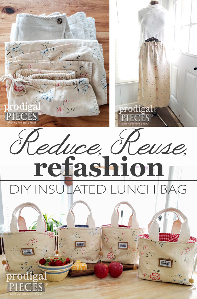 Check this out...DIY Insulated Lunch Bags created from two linen skirts | Come join the refashion fun at Prodigal Pieces | prodigalpieces.com #prodigalpieces #handmade #diy #sewing #fashion #home