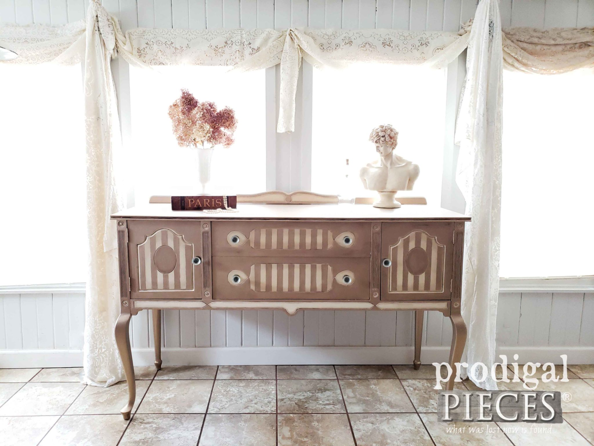 Get the DIY tutorial on how to use metallic paint of furniture like this antique buffet by Larissa at Prodigal Pieces | prodigalpieces.com #prodigalpieces #diy #furniture #antique #home #vintage #homedecor