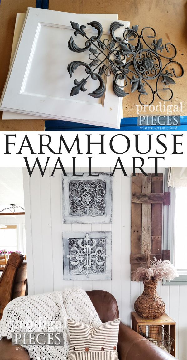 DIY Upcycled Farmhouse Wall Decor Created by Larissa of Prodigal Pieces using Cast-Off Finds | Video tutorial at prodigalpieces.com #prodigalpieces #home #diy #farmhouse #homedecor