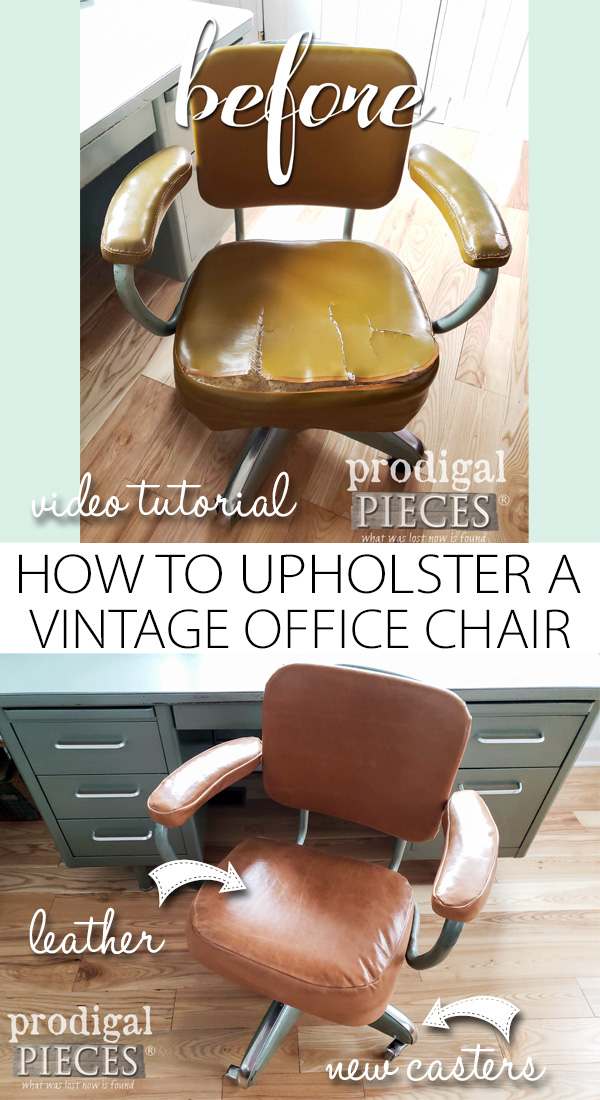 How to Upholster a Vintage Industrial Office Chair with Leather | Video Tutorial by Larissa of Prodigal Pieces | Head to prodigalpieces.com #prodigalpieces #diy #furniture #handmade #retro #home #vintage #homedecor