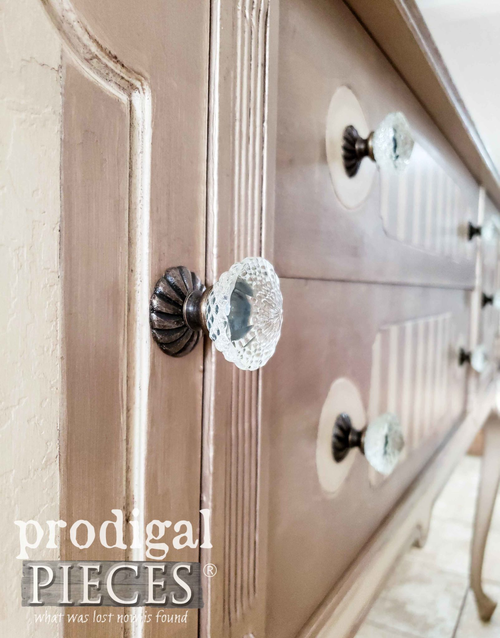 Faceted Glass Pulls on Antique Queen Anne Buffet by Larissa of Prodigal Pieces | prodigalpieces.com #prodigalpieces #furniture #home #diy #homedecor #shabbychic
