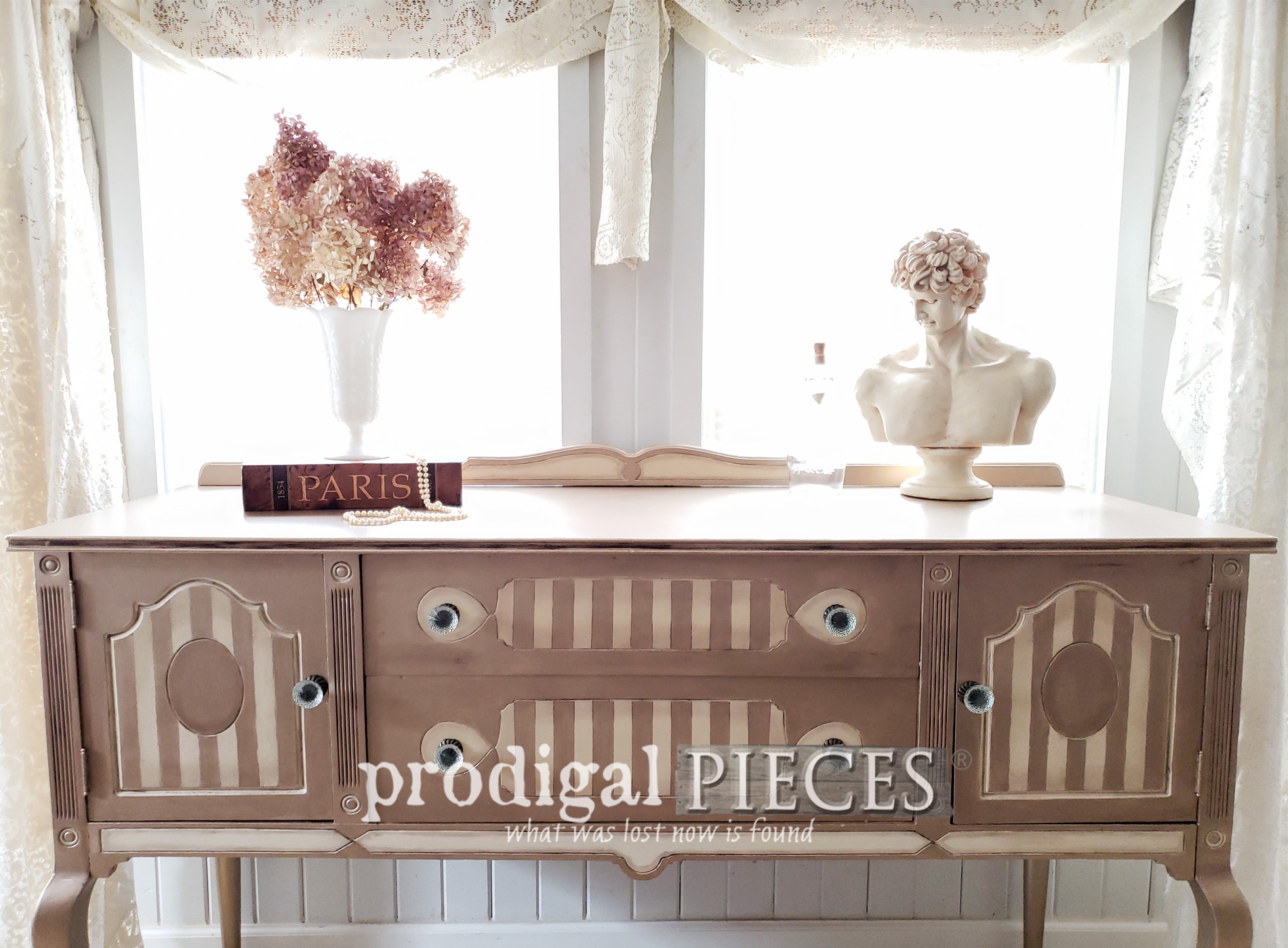 Featured Antique Buffet Gets Metallic Makeover by Larissa of Prodigal Pieces | Tutorial at prodigalpieces.com #prodigalpieces #diy #home #furniture #antique #homedecor #vintage