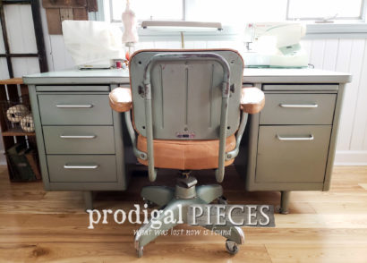 Featured Vintage Industrial Office Chair Reupholstered with Leather | Video Tutorial by Larissa of Prodigal Pieces | prodigalpieces.com #prodigalpieces #diy #furniture #home #vintage #homedecor