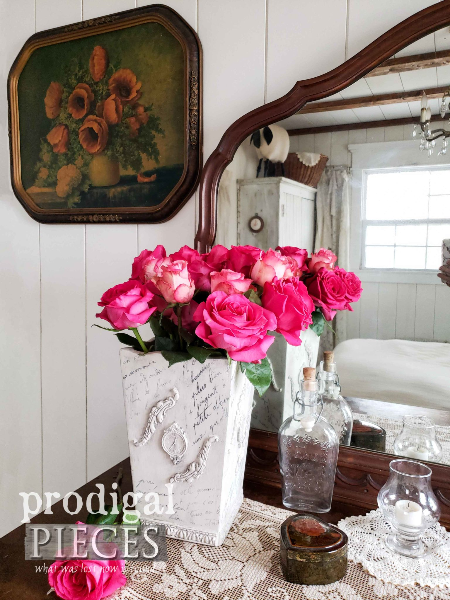 French Chic Vase with DIY Video Tutorial by Larissa of Prodigal Pieces | prodigalpieces.com #prodigalpieces #diy #home #vintage #homedecor #shabbychic