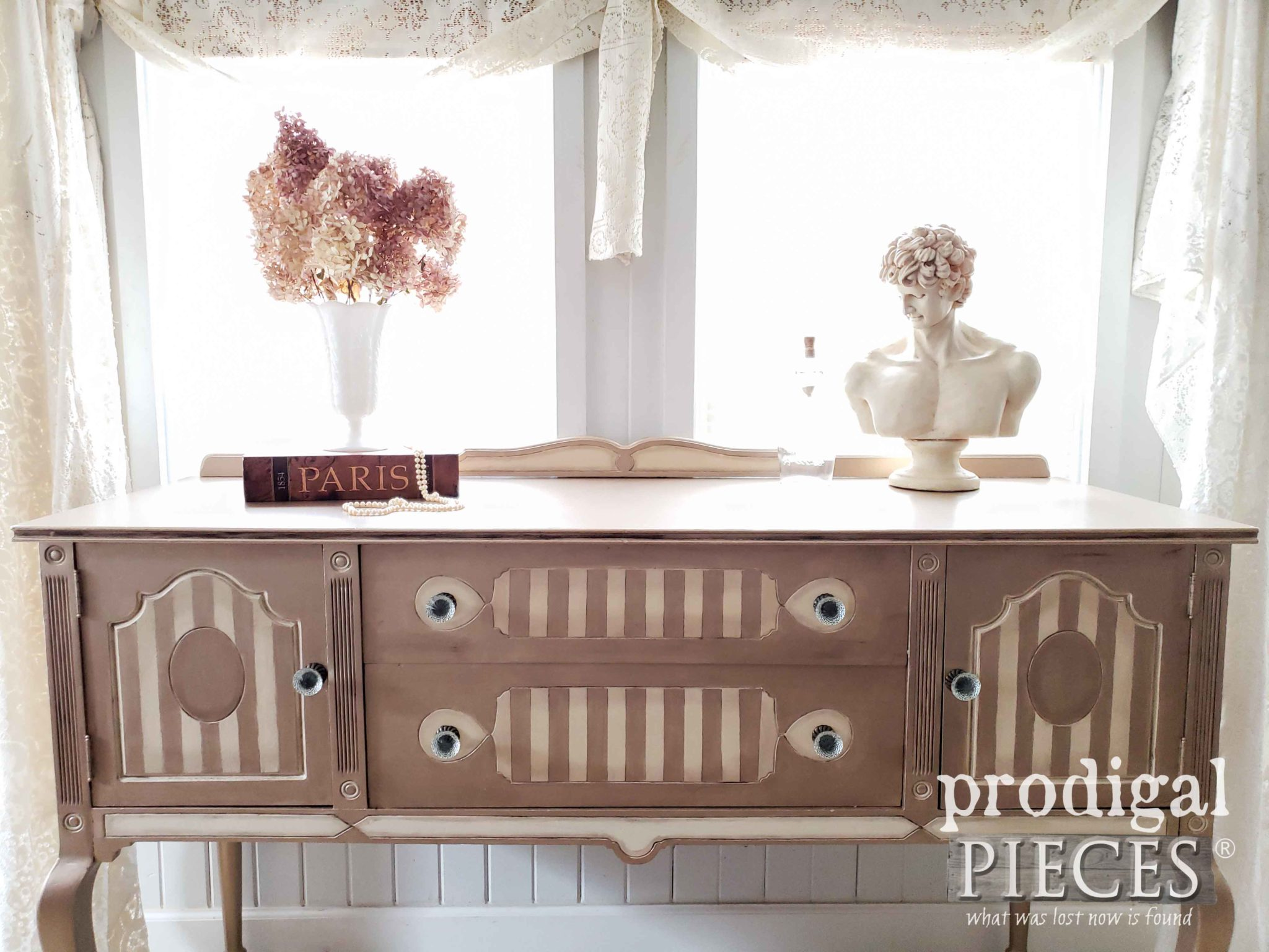 French Country Antique Buffet in Metallic Warm Silver by Larissa of Prodigal Pieces | prodigalpieces.com #prodigalpieces #diy #home #furniture #french #homedecor
