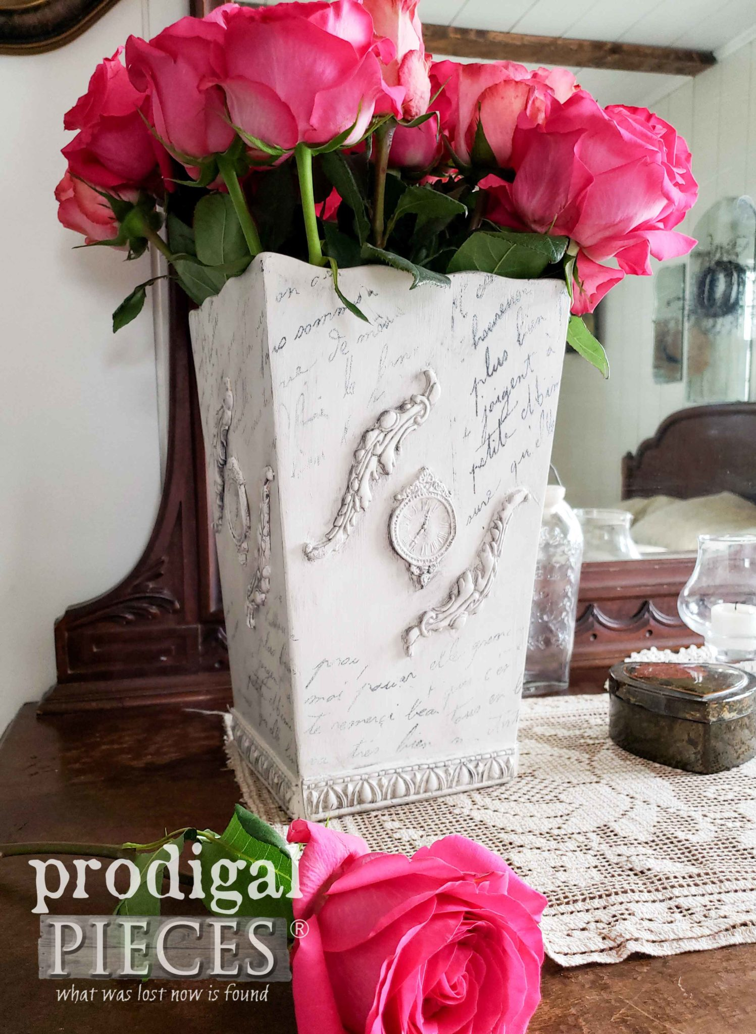 DIY French Script Vase with Homemade Transfers by Larissa of Prodigal Pieces | prodigalpieces.com #prodigalpieces #shabby chic #diy #home #vintage #homedecor