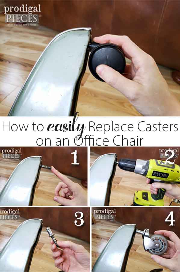 How to EASILY replace old casters on an office chair | Video tutorial by Larissa of Prodigal Pieces | prodigalpieces.com #prodigalpieces #diy #home #furniture #vintage #homedecor